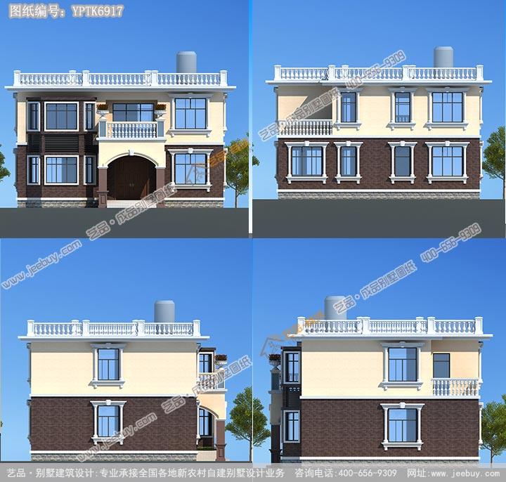 艺品农村自建别墅设计图两层平顶 自建房设计 农村小图片