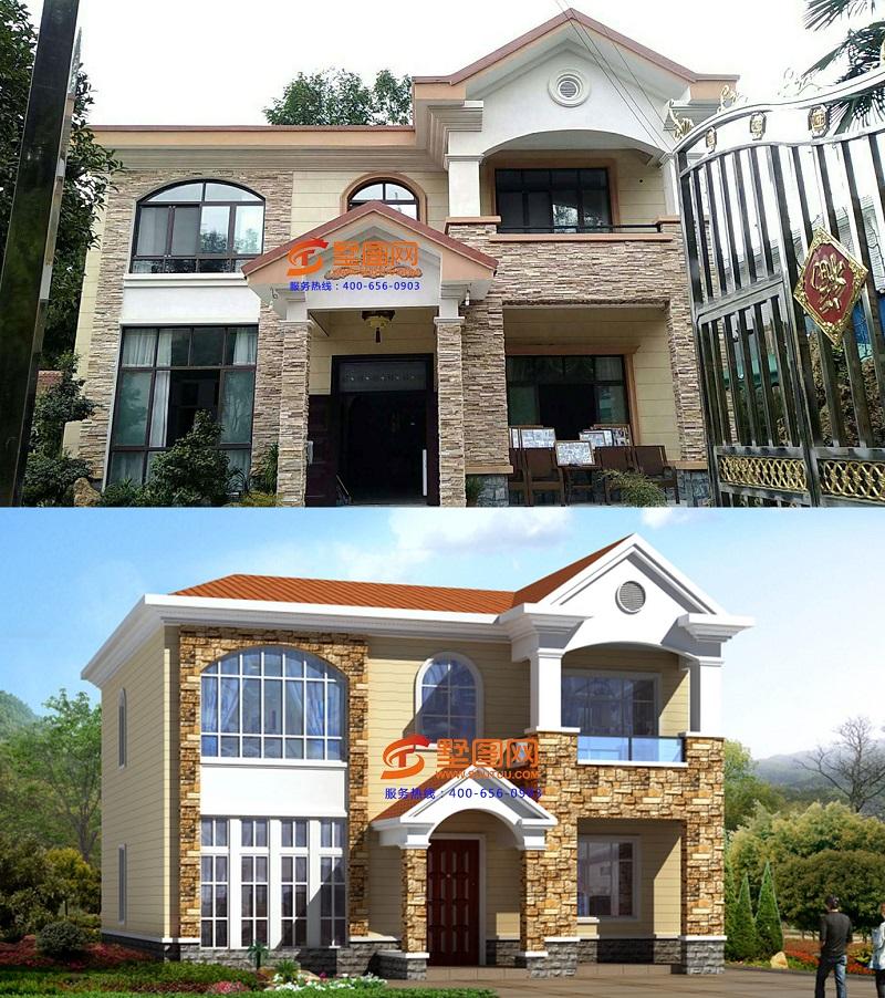 自建房别墅按设计图纸施工外墙装饰好后与实际设计的彩色效果图对比.