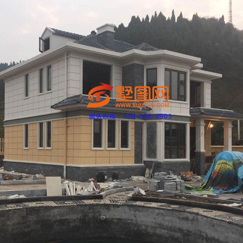 二层农村私宅别墅建房图纸,外观效果层次感强图片