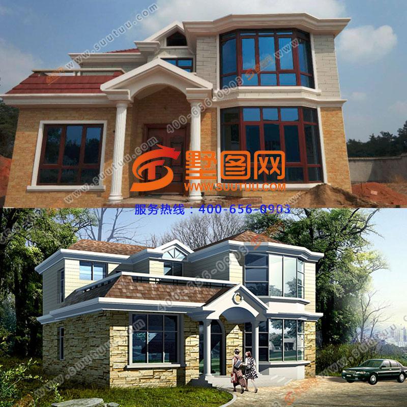乡村二层农村自建房屋图,120平米经济小别墅施工案例图片