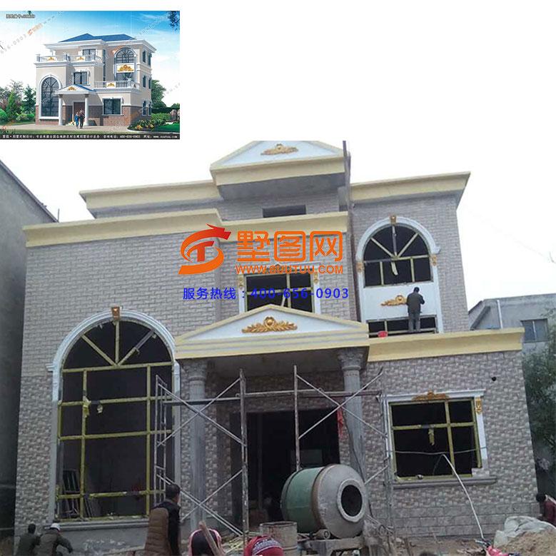 江苏刘先生分享:乡村三层自建房设计图纸,复式双露台图片