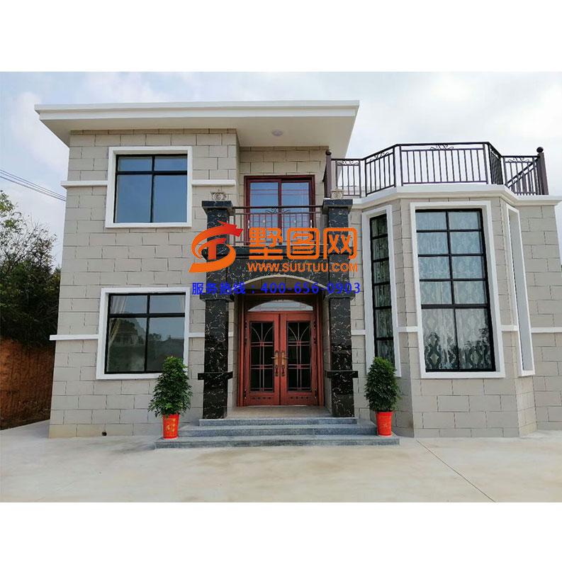 江西吉安伍先生盖的二层农村新别墅,挑高客厅美观大气图片