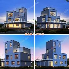 别墅图纸四层漂亮别墅图复式客厅自建别墅图纸农村别墅设计图双露台