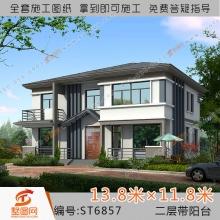 墅图中式现代田园风二层别墅设计图纸全套农村自建房效果图6857
