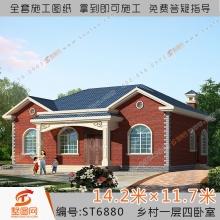 墅图农村自建房一层乡下小别墅全套设计图纸 四卧室带水电 6880