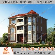 图网豪华欧式三层别墅设计图纸大气农村自建房全套效果图7267