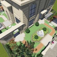 墅图网园林景观定制别墅庭院后花园壁炉庭院园林景观绿化设计效果图