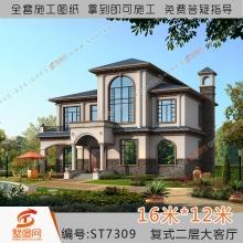 墅图网复式二层别墅设计图 大客厅6卧室小户型独栋全套施图纸7309
